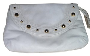 Goldenbleu Studded Leather Suede White, Gold Clutch