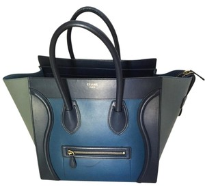 Céline Celine Mini Luggage Tri Color Tote in Blue Tri-Color