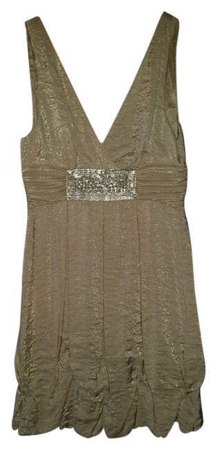 Item - Gold Flecked Sequin Above Knee Cocktail Dress Size 6 (S)