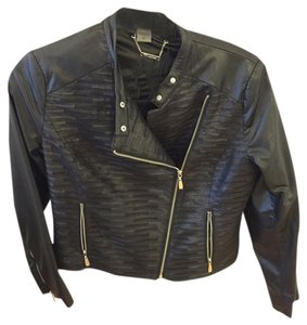 Peter Nygard Faux Leather Bomber Angle Zip Leather Jacket
