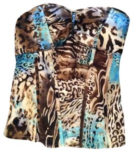 Charlotte Russe Top Blue and tan cheetah print