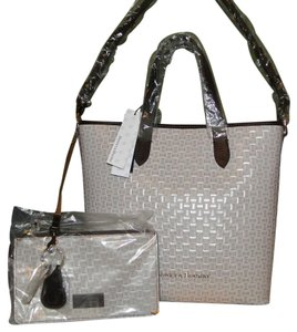Dooney & Bourke Oyster 3 Piece Set Tote/shopper Woven Leather Lined Tote in Oyster (grayish)
