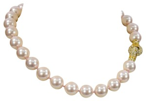 Beautiful Pink 14 mm Faux Pearl Choker Necklace