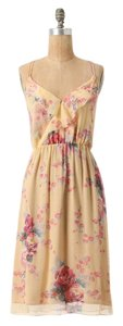 Anthropologie Rose & Gold Slit Silk Chiffon Floral Print Dress