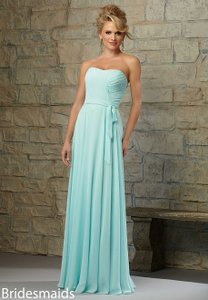 Mori Lee Mint Chiffon 713 Formal Bridesmaid/Mob Dress Size 10 (M)