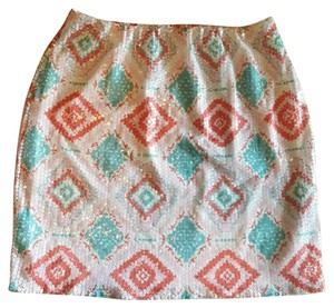 Anthropologie Aztec Sequin Mini Skirt White, Pink and Teal