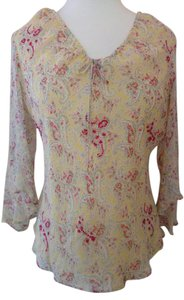 SilkLand Silk Shell Lining Sheer Sew-on Sequins Draw String Tie Neck Sheer Ruffled Sleeve Top Yellow with Coral Paisley