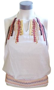 prAna Cotton Embroidered White Halter Top