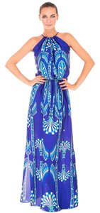 Blue multi Maxi Dress by Atina Cristina