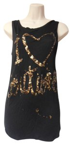 Juicy Couture Sleeveless I Love Couture Leopard Print T Shirt black