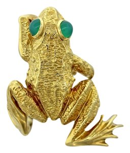 Kurt Wayne Vintage Kurt Wayne Solid 18k Yellow Gold Green Onyx Frog Cocktail Ring