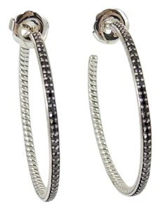 David Yurman David Yurman Sterling Silver 1.50tcw Large Black Diamond Graphite Ice Hoop Earrings