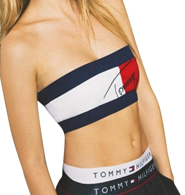 Item - Navy Blue White and Red Halter Top Size 4 (S)