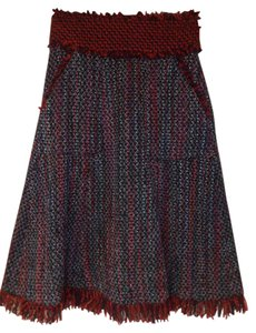 Tory Burch Winter Lined Skirt multi-color - red/black/gray