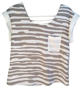 Ark & Co. Top White & Grey stripe