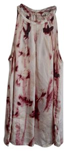 Banana Republic Silk Top White & Pink Tie Dye