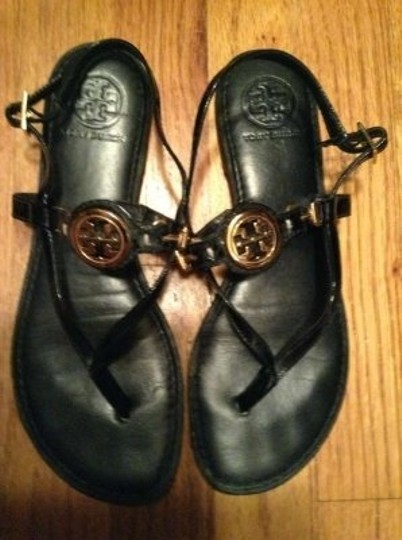 Tory Burch Black patent leather/ gold metal medallion Sandals