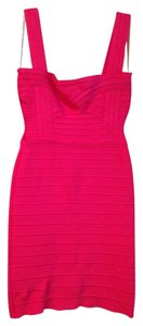 Hervé Leger Pink Micro-mini Mini Spring Summer Evening Bright Girlie Sexy Sleeveless Bodycon Bandage Dress