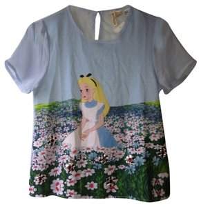 H&M Alice In Wonderland Disney Top Blue