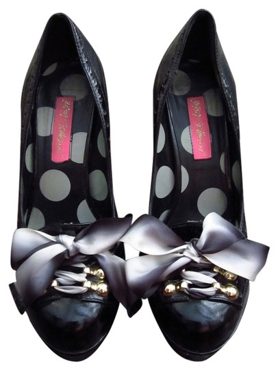 Betsey Johnson Patent Leather Lace Up Satin Bow Black Pumps
