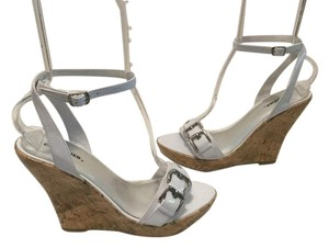 Classified Silver Buckles Polished Cork Open Toe Ankle Straps White patent Wedges