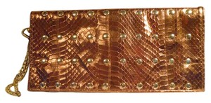 Ted Rossi Leather Studded Snakeskin Wristlet bronze & gold Clutch