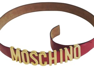 Moschino Moschino Logo Belt in Red with Gold Hardware
