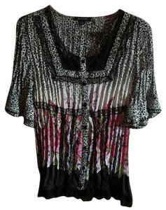 Notations Top Black/White with pink, blue n green