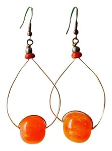 Other African Orange Red Stone Bead Brass Wire Large Dangle Drop Earrings