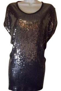 Michael Kors Metallic Sequin Top Silver