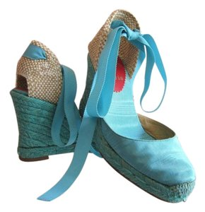 Christian Louboutin Red Bottoms Turquoise Wedges