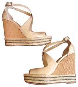 B Brian Atwood Wedge Platform Sandals Gold Wedges
