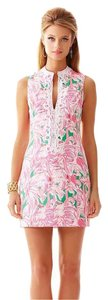 Lilly Pulitzer short dress Pink, white and green Shift Summer Flamingo Collar Applique on Tradesy