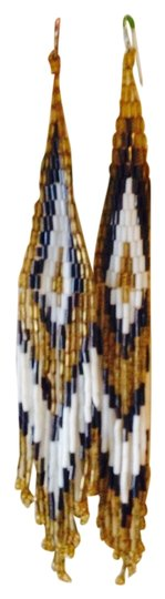 Other Native American Bead Dangle Drop Duster Gold Silver White Color Earrings