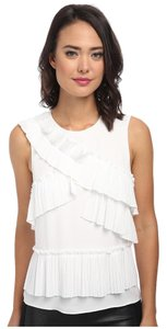 BCBGMAXAZRIA Bcbg Pleat Top White