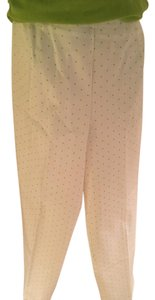 Susan Bristol Capri/Cropped Pants white with green dots