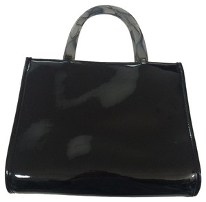 Neiman Marcus Patent Marble Acrylic Shiny Tote in black