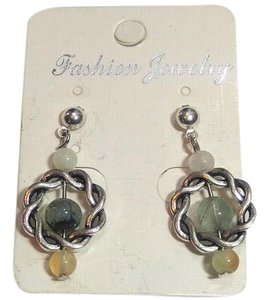 New Gemstone Earrings Handmade Silver Tone J2636 Summersale