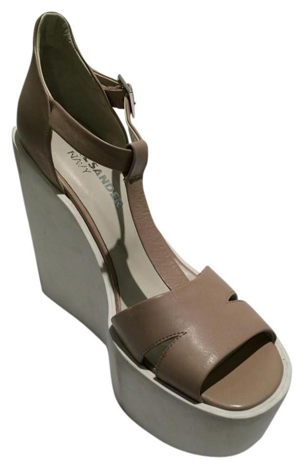 ee5d6374853 Jil Sander New Navy Nude Platform Wedge T-strap Leather Sandals Size ...