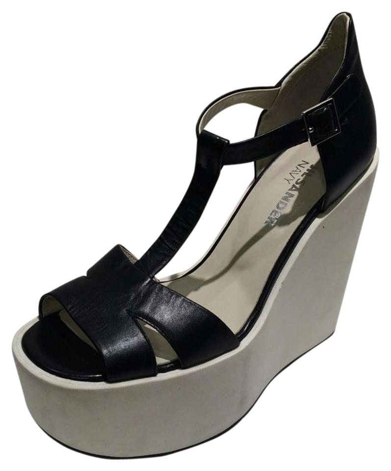 03e32a932b2 Jil Sander Black New Platform Wedge T-strap Leather Sandals Size US ...
