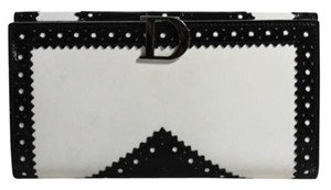 Dior CHRISTIAN DIOR White Spazzolato Leather Perforated Black Accent Bi Fold Wallet
