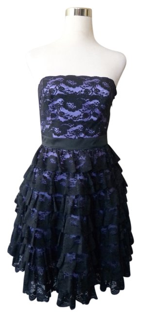 Betsey Johnson Lace Strapless Tiered Purple Lined Crinoline Dress Image 0