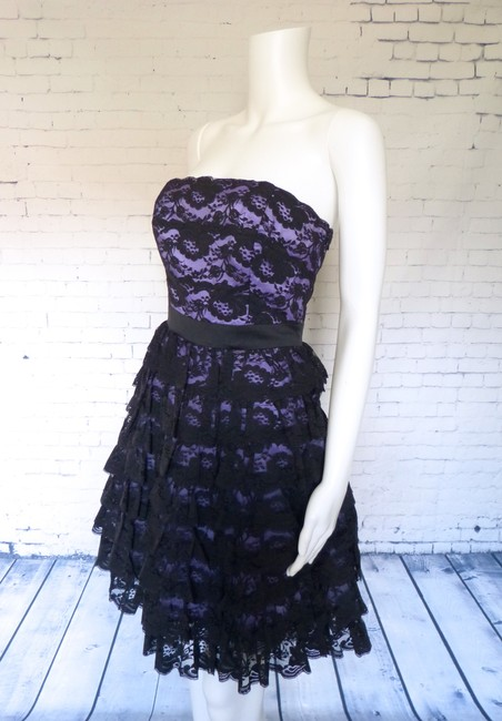 Betsey Johnson Lace Strapless Tiered Purple Lined Crinoline Dress