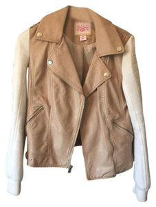 Pink Envelope Faux Leather Padded Elbows tan Leather Jacket