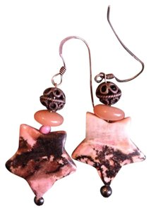 Other Rhodonite Stone Pink Brown Orange Melon Star Dangle Drop Crystal Earrings