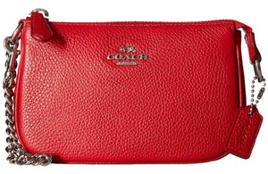 Coach Polished Leather Chain Strap Wristlet in True Red
