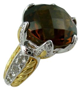 Victoria Wieck Victoria Wieck 7.28ct Whiskey Quartz and White Topaz Crown Ring - Size 5