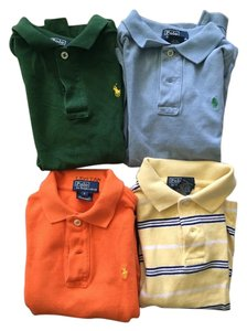 Ralph Lauren Child T Shirt blue, green, orange and yellow with blue stripe