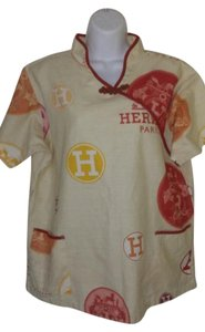 Herms Vintage Cream Multicolor Top Cream, Mulitcolor