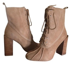 Jeffrey Campbell Ankle High Heeled Zip Tan Suede Boots